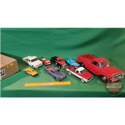 Tray Lot - Toy Pick Up Trucks (8) (Variety of Sizes/Makes) (Note: Large Red Truck is Plastic)