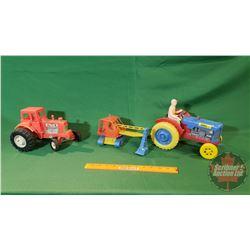 Vintage Plastic Toys:  2 Tractors & Excavator