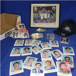 Tray Lot - Oilers Theme: Framed Team Photo Stanley Cup 1983/84 & Player Cards, Button, etc