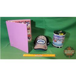 Collector Trio: Binder of Hockey Cards (approx 250+), Chrysler Hockey Tin & Mopar Cap