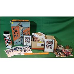 Vintage CCM Skate Box with Hockey Collectibles (Oversize Hockey Cards - some framed, Gretzky Water B