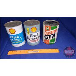 Oil Tin Trio - All Full : Castrol, Shell, Shell