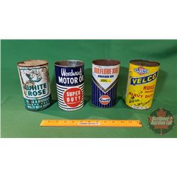 Oil Tins (4): Gulf, Woodwards, Velco, White Rose