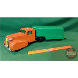 "Metal Toy ""Wyandotte"" Truck & Trailer (Orange/Green) (Total Length Combined 19"")"