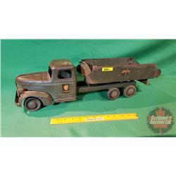 """Vintage Metal Toy Truck : Turner (Wood Wheels) """"US Army""""   (24-1/2""""L)"""