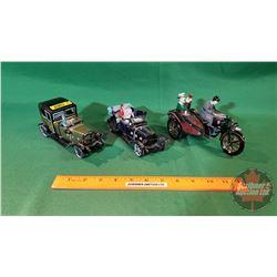 3 Tin Friction Toys