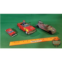 "3 Metal Toys : Firetruck, Bump'N Go Chief ""F.D."" Windup, Small Tin Fire Dept Chief Car"