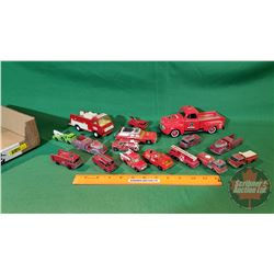 Tray Lot - Variety Metal Toy Fire Trucks/Cars (16)