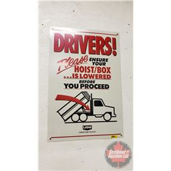 "U.G.G. Tin Sign ""DRIVERS"" (24"" x 16"")"
