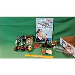 Tray Lot - Pipe Smokers Collector Combo: Pipes, Holder, Vintage Cardboard Ad, etc