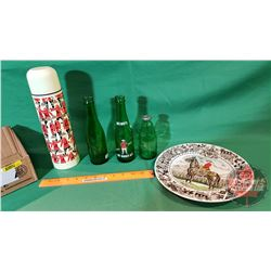 Tray Lot - RCMP Theme: Thermos, Plate & 3 Ginger Ale Drewrys Bottles, etc