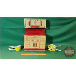 """Children's Tin Toy Kitchen (16""""H x 11""""W) with Pots/Pans Accessories"""