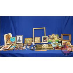 Box Lot - Variety of Religious Framed Prints/Artwork, Pocket Watch, Cup, etc!