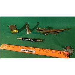 Group: Alligator nut cracker, 14k gold filled mechanical pencil, lighter and bell