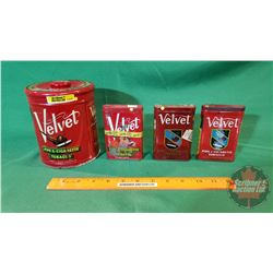 Tobacco Tins: Velvet Pipe Tobacco: 1 Canister and 3 tobacco tins