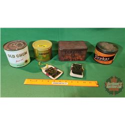 Group of Tobacco Tins and Pouches: Laredo Cut Plug, Laredo Filter Blend (full), Old Chum (full), Pic