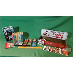Metal Toy Toolbox with Contents: Little Big Books, Star Wars Book, Trading Cards, Etc.