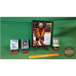 """Hockey Combo (4 pcs): Framed 8x10 Picture Autographed """"Gary Brumley""""; Autographed Card """" Andy Moog"""";"""