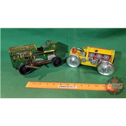 Tin Toys:(need restoring) 2 Bulldozers (1 Green 1 Yellow)