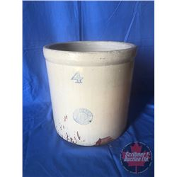 "4 Gallon Crock : Original Sleepy Indian Stamped Medalta Stoneware (11-1/2""H)"