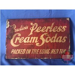 "Paulin's Peerless Cream Sodas Tin Lid Paper Label (7"" x 11"")"