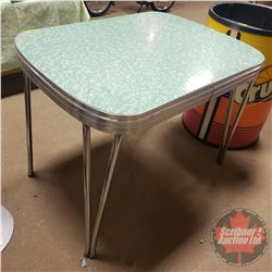 "Chrome Kitchen Table: Green Cracked Ice Pattern (30"" x 39"") (Slight Damage On Top and No Leaves)"