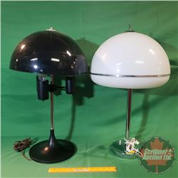 2 Retro Table Lamps w/Plastic Shades