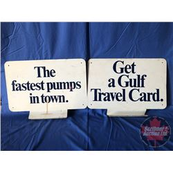 "Metal Gas Station Sign (Double Sided) ""The fastest pumps in town."" ""Get a Gulf Travel Card"" (14""H x"
