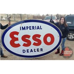 "Large Oval Imperial Esso Dealer Sign w/Brackets (61""H x 93""W)"