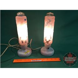 Boudoir Electric Side Table Lamps (Glass Shades/Bakelite Base)