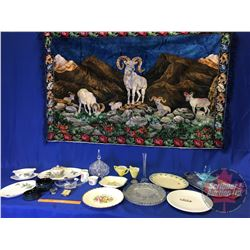 "Tray Lot: Large Assortment of Glassware (China, Crystal, Silver Plated, etc) + Tapestry (70""x46"")"