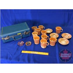 Blue Hardshell Suitcase with: Peach Lustreware (14pcs) & Depression Glass Ash Trays (2)