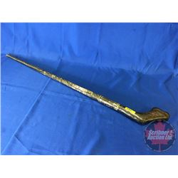 "Walking Cane - Ornate (Dark wood & Inlaid Mother of Pearl) (38"")"