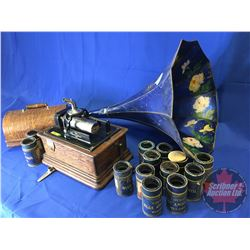 Edison Cylinder Phonograph with 13 Cylinder Records & Blue Floral Horn - Needs Restoration (Note: No