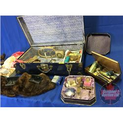 Ladies Collector Combo in Blue Tin/Trunk Suitcase : Perfume Bottles, Powder Boxes, Candle Holder, Fu