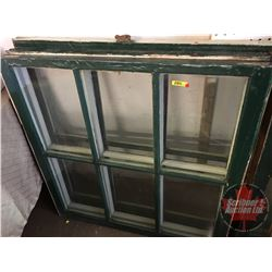 "Wood Sash Windows (Group of 3) (36"" x 35"") (Note: 2 Cracked Panes)"