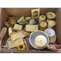 "Box Lot : Variety of ""French Ivory"" Dresser Set Items, etc ! (Must see pics)"