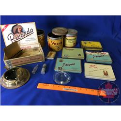 Tray Lot: Variety of Tobacco Tins, Cigarette Tins, Ash Trays, Bullet Lighter, etc !