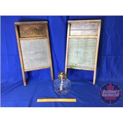 Collector Combo: Glass Washboard, Tin Washboard & Oil Lamp