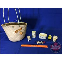 Basket with Vintage Doll House Furniture/Kitchen Items