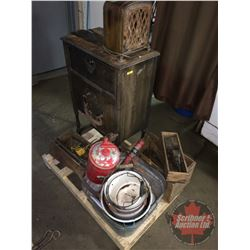 Pallet Lot: Variety of Rustic Antiques (Radio Cabinet, Model T Coils, Enamel Pails, Auxiliary Speake