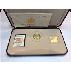 2001 Royal Canadian Mint 150th Anniversary 3 Cent Coin and Stamp Set