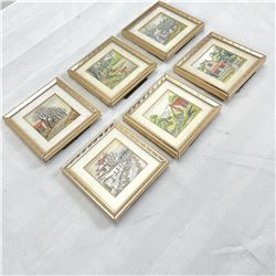 6 Miniature prints with frames