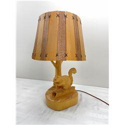 Wood and Plastic Squirrel Lamp