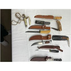 9 various knives and sharpening stone