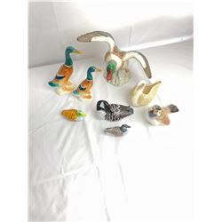 Assorted Wood and Ceramic Ducks