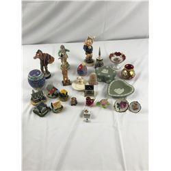 Assorted glass and ceramic figurines