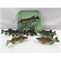 Pacerel Hecorative Hanging Plate and 7 Ceramic fish