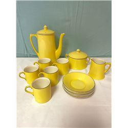 14 Piece Yellow Crown Ducal Tea Set