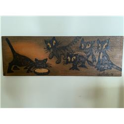 Wooden Cat engraved picture